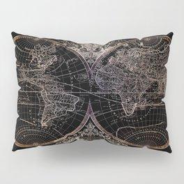 world map old vintage black Pillow Sham