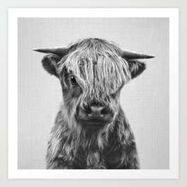Highland Calf - Black & White Art Print