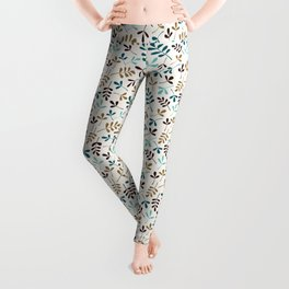 Assorted Leaf Silhouettes Teals Brown Gold Cream Ptn Leggings