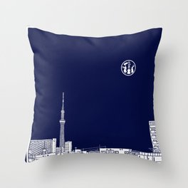 Tokyo Sky Tree by Night Throw Pillow