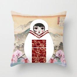 Geisha Matryoshka Throw Pillow