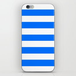 Brandeis blue - solid color - white stripes pattern iPhone Skin