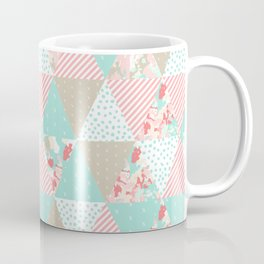 Quilt ender neutral modern quilting pattern triangles handmade gift for new baby Coffee Mug