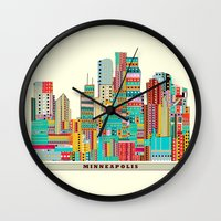 minneapolis Wall Clocks featuring Minneapolis city  by bri.buckley