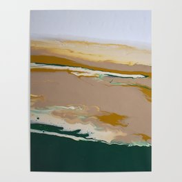 So Far Away Green Brown Neutral Marble Fluid Acrylic Painting Poster