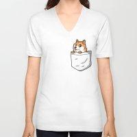 shiba inu V-neck T-shirts featuring Pocket Shibe (Shiba Inu, Doge) by Tabner's