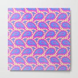Bold pink paisley seamless pattern. Metal Print