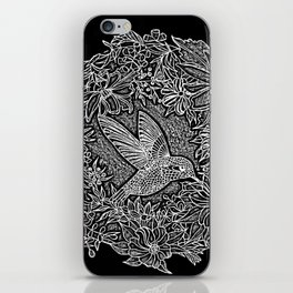 Hummingbird In Flowery Wreath Linocut iPhone Skin