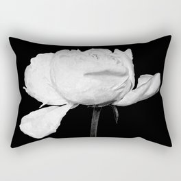 White Peony Black Background Rectangular Pillow