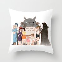 hayao miyazaki Throw Pillows featuring Hayao Miyazaki's Family by Naineuh