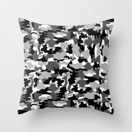 black and white Background Pattern Camo Throw Pillow