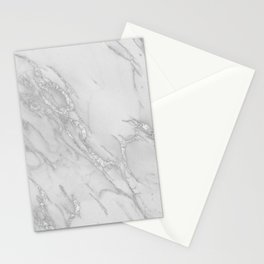 Marble Love Silver Metallic Stationery Cards