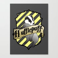 hufflepuff Canvas Prints featuring Hufflepuff Crest by AriesNamarie