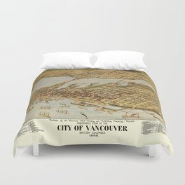 Vintage Pictorial Map of Vancouver BC (1898) Duvet Cover