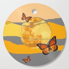 MOON & MONARCH BUTTERFLIES DESERT SKY ABSTRACT ART Cutting Board