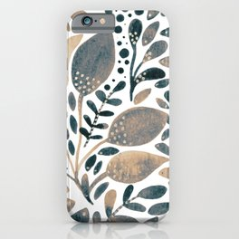 Watercolor branches and leaves - neutral iPhone Case