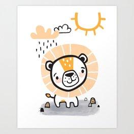 Lion's Rainy Day Art Print