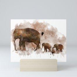 Elephant and Calves Mini Art Print