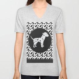 Cute Dalmation Dog Art Animals Pattern   Unisex V-Neck