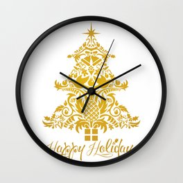 Ornate Pineapple Holiday Tree Wall Clock