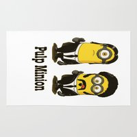 pulp Area & Throw Rugs featuring Pulp minion by eatpersonality