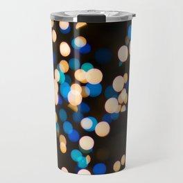 Blue Orange Yellow Bokeh Blurred Lights Shimmer Shiny Dots Spots Circles Out Of Focus Travel Mug