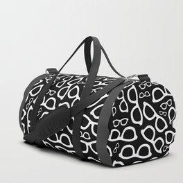 Smart Glasses Pattern - White on Black Duffle Bag