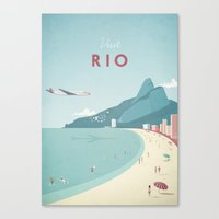 travel poster Canvas Prints featuring Vintage Rio Travel Poster by Travel Poster Co.