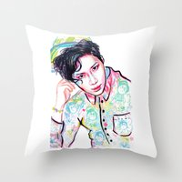 shinee Throw Pillows featuring SHINee Taemin Colorful by sophillustration
