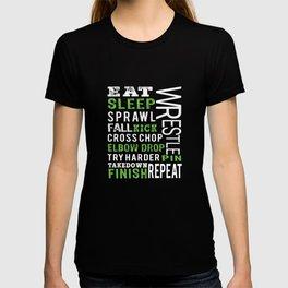 Top Fun Eat Sleep Wrestle Gift Design T-shirt