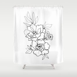 Peony Blossoms Vertical - Black Shower Curtain