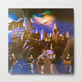 Hogwarts At Starry Night Metal Print
