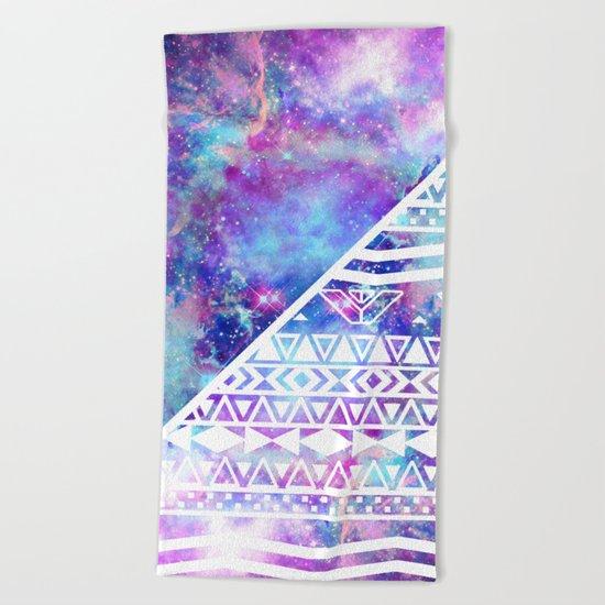 Girly Purple Pink Nebula Space White Tribal Aztec Beach Towel