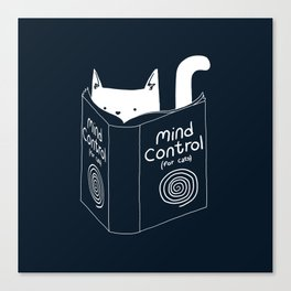 Mind Control For Cats (dark blue) Canvas Print