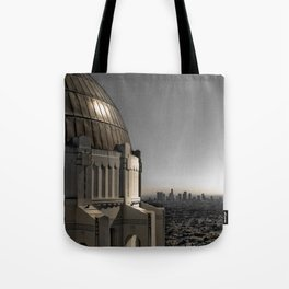 Griffith Park Observatory with Downtown LA Skyline Tote Bag