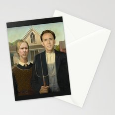 American Gothic Nicholas Cage Face Swap Stationery Cards