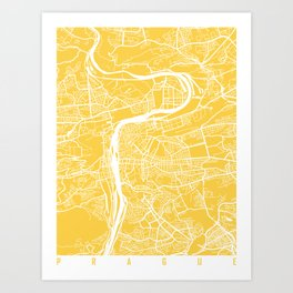 Prague map yellow Art Print