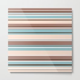 Striped Design Browns Blue Cream & White Metal Print