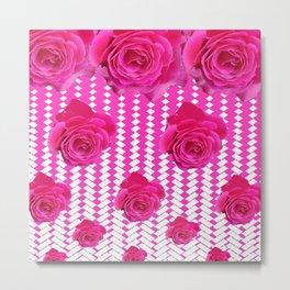 ABSTRACTED CERISE PINK ROSES GARDEN ART Metal Print