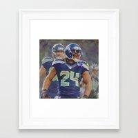 seahawks Framed Art Prints featuring Beast Mode - Seahawks #24 by KyddCo