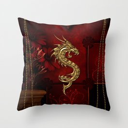 Wonderful golden chinese dragon Throw Pillow