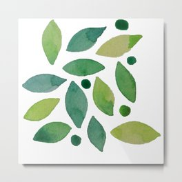 Leaves & berries watercolour Metal Print