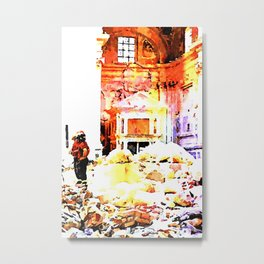 L'Aquila: fireman in the interior of church destroyed Metal Print