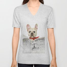 French bulldog with newspaper, bonjour Unisex V-Neck