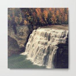 Waterfall in autumn Metal Print
