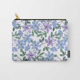 Cute watercolor blue, purple flowers on white Carry-All Pouch