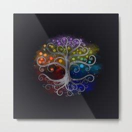 Tree of life Silver Swirl Metal Print