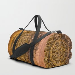 Mandala on Wood Duffle Bag