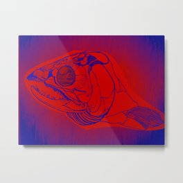 Salmon head skull Metal Print