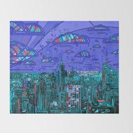 new york city panorama blue Throw Blanket